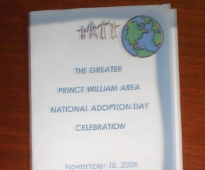 prince william county bar foundation programs left our adoption day is featured in a local newspaper right the program from our 2006 national adoption day celebration